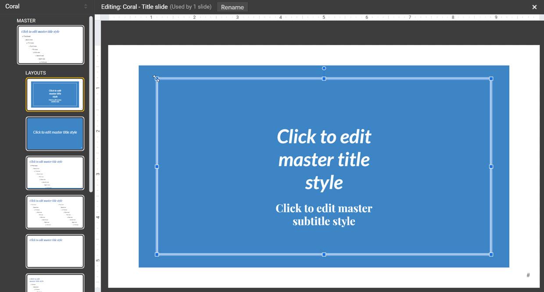 modifying a slide layout