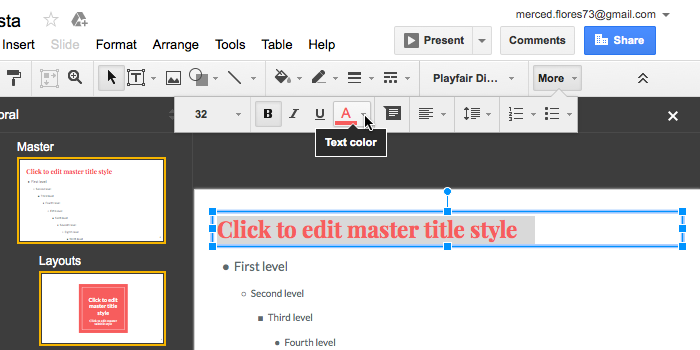 google slides editing master slides and layouts