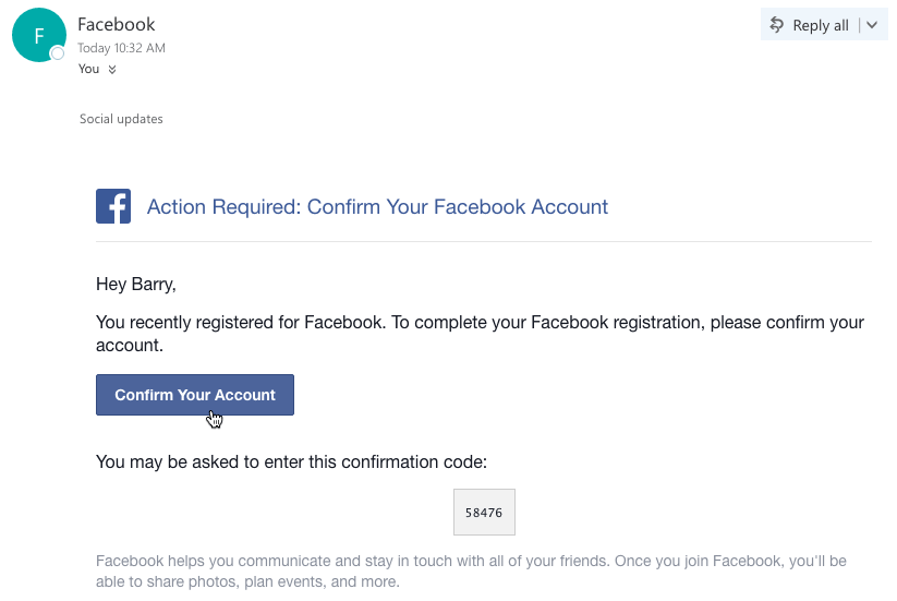 confirming your facebook account through email