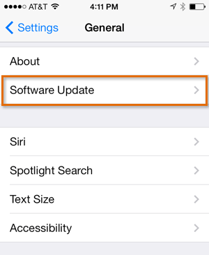 Software Update in Settings app