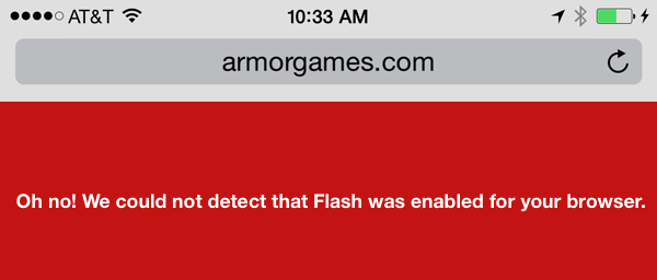 flash disabled on iOS Safari