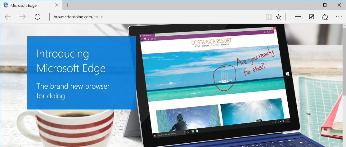 the new Microsoft Edge browser for Windows 10