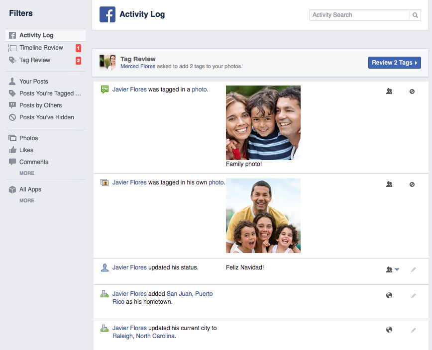 Using Facebook's privacy settings