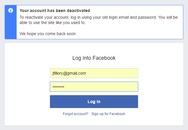 Deactivating facebook profile