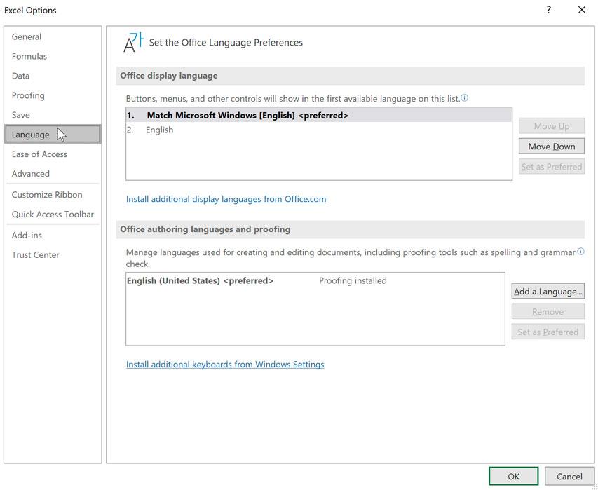 Excel options then Language preferences