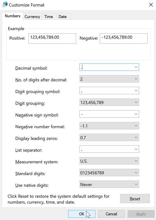 the customize format dialog box