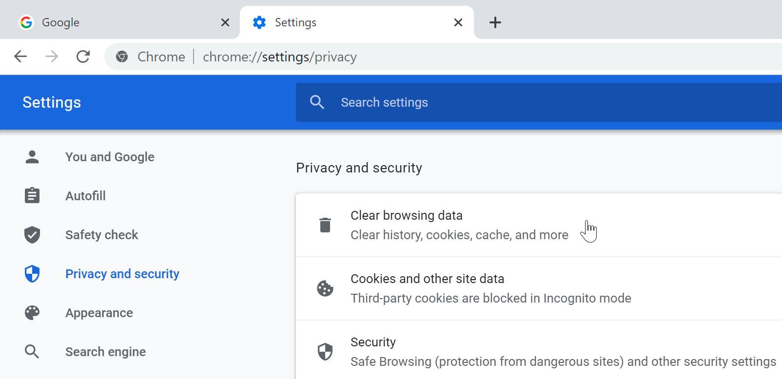 clearing browser data