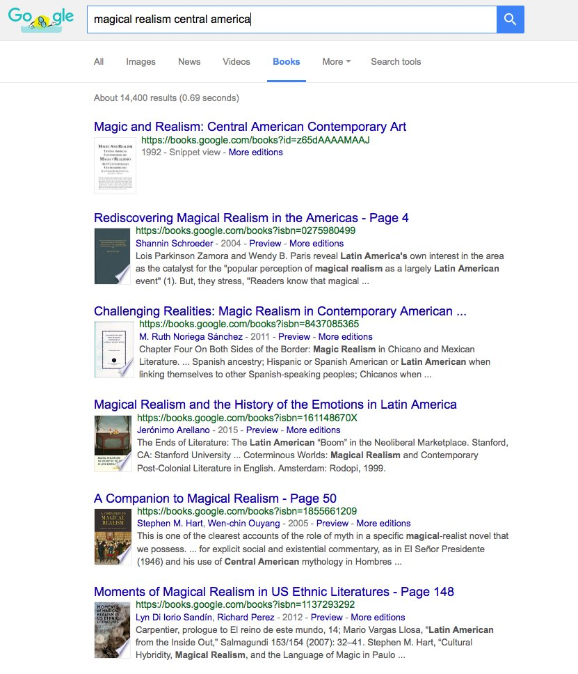 searching Google for magical realism central america