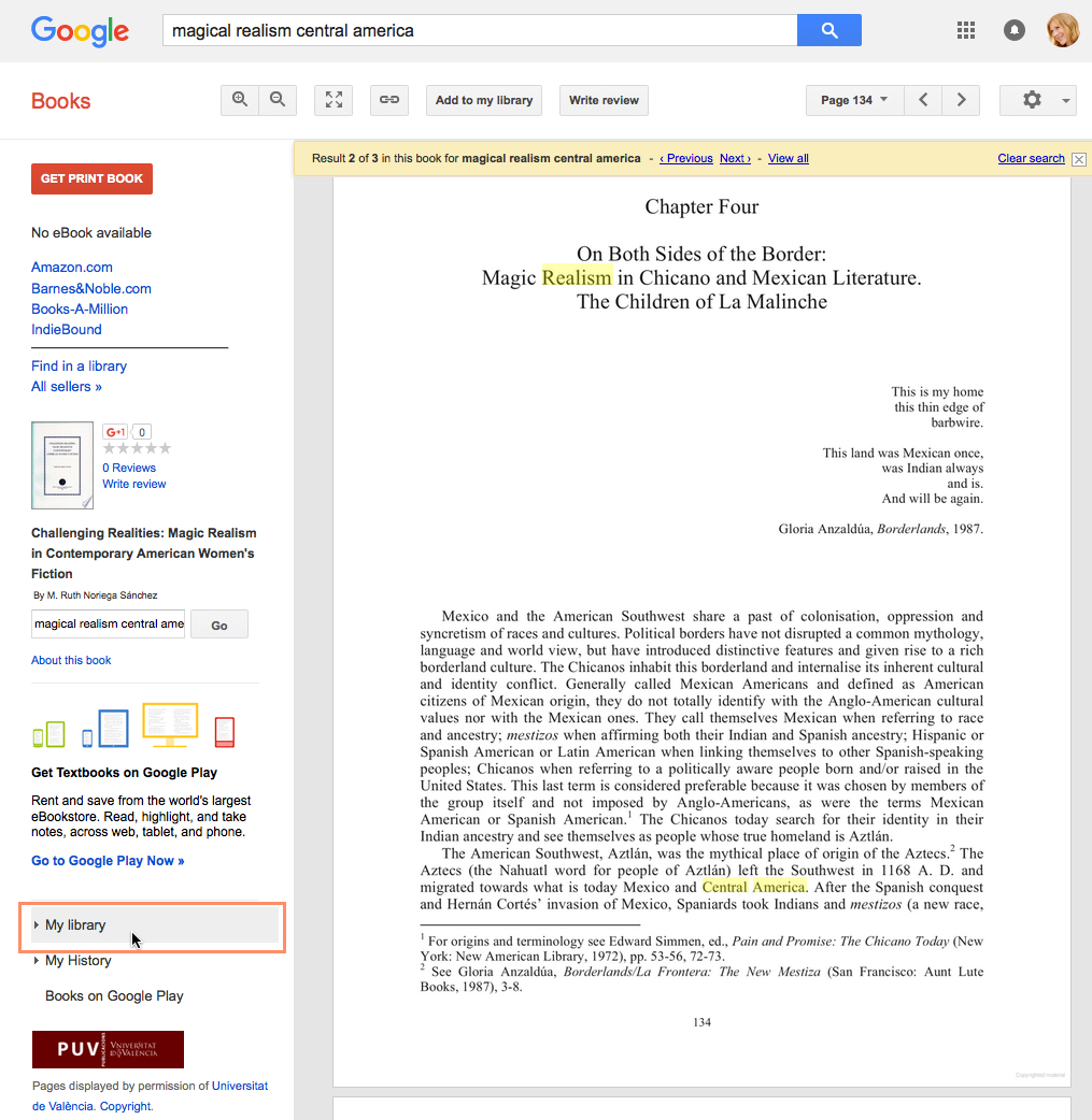 selecing My Library in Google Books