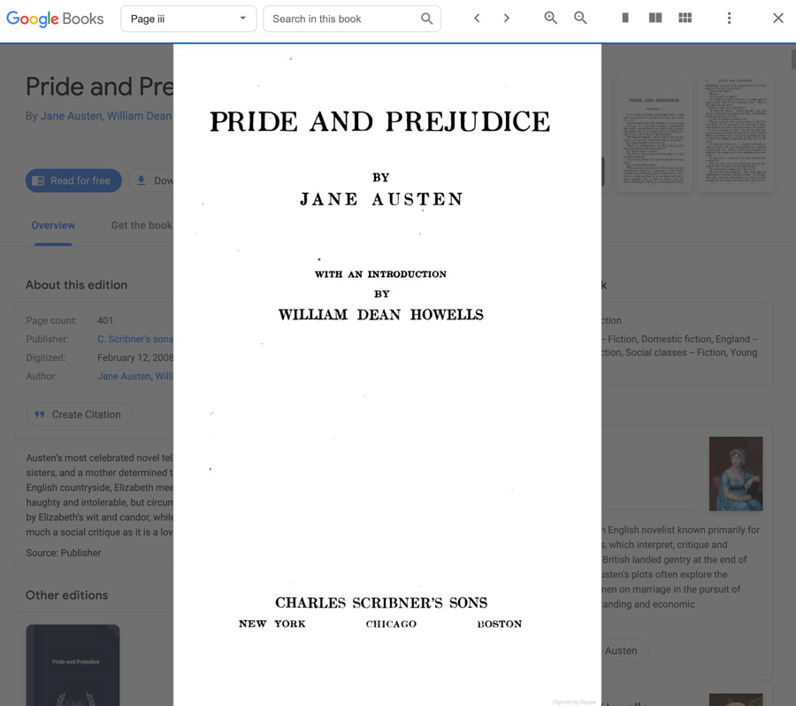 viewing the title page in Google Books