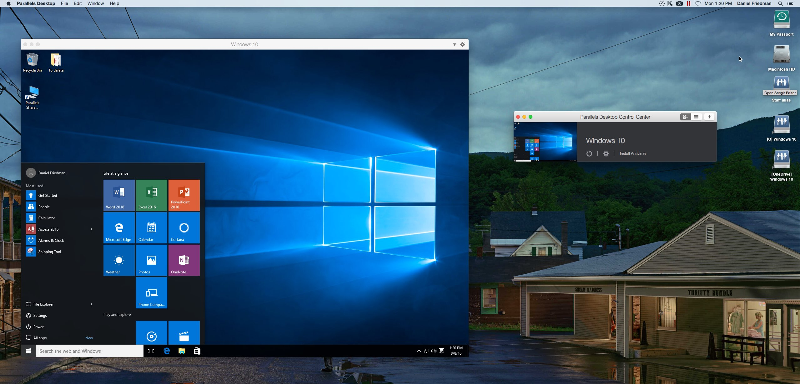 running Windows within the Parallels application