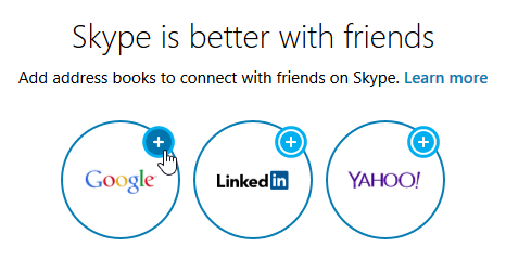 choosing a service to link to Skype