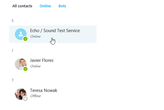 selecting the Echo/Sound Test Service contact