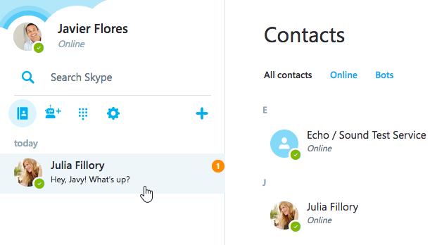 an IM notification on Skype