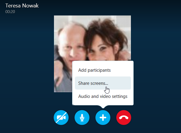 beginning a screen share within skype