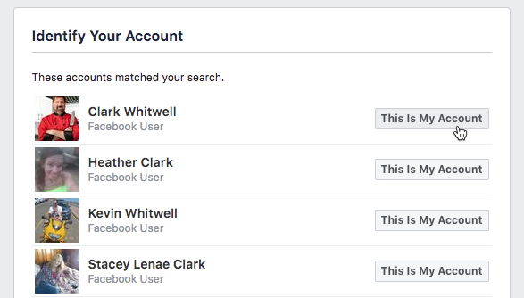 clicking This is My Account button next to Clark Whitwell user