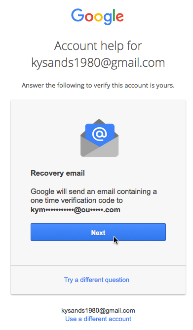 recovery email screen, clicking Next button