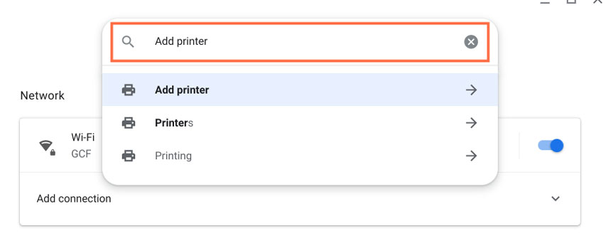 Typing Add printer in the search field