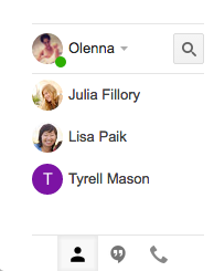 Google Hangouts pane in Gmail