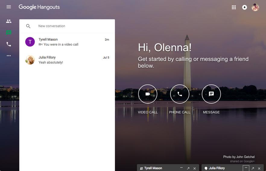 Google Hangouts interface interactive