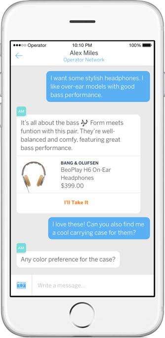 A retail chatbot recommending a pair of headphones