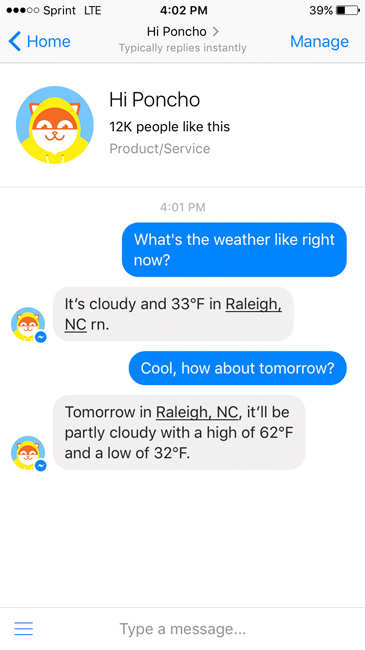 Using a chatbot that tells the weather