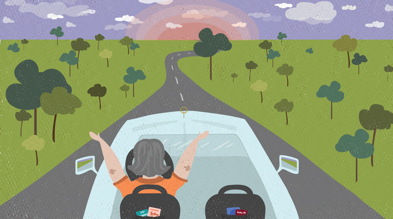 An illustration of a person throwing their arms up in the air of a self-driving car.