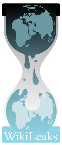 The logo of Wikileaks: An hourglass containing a globe dripping down onto another globe.