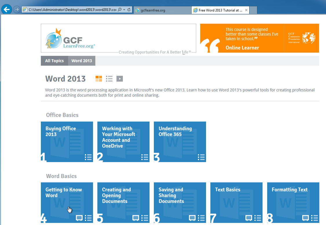 Free downloadable site tutorial at gcflearnfree you can then click the desired lesson and navigate the tutorial just as you would with the online site baditri Choice Image