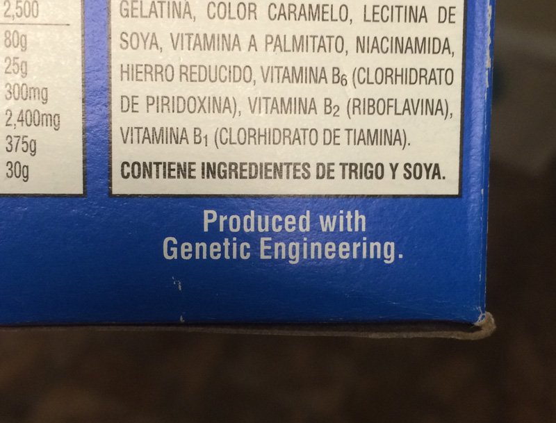A food label that reads 'Produced with Genetic Engineering.'