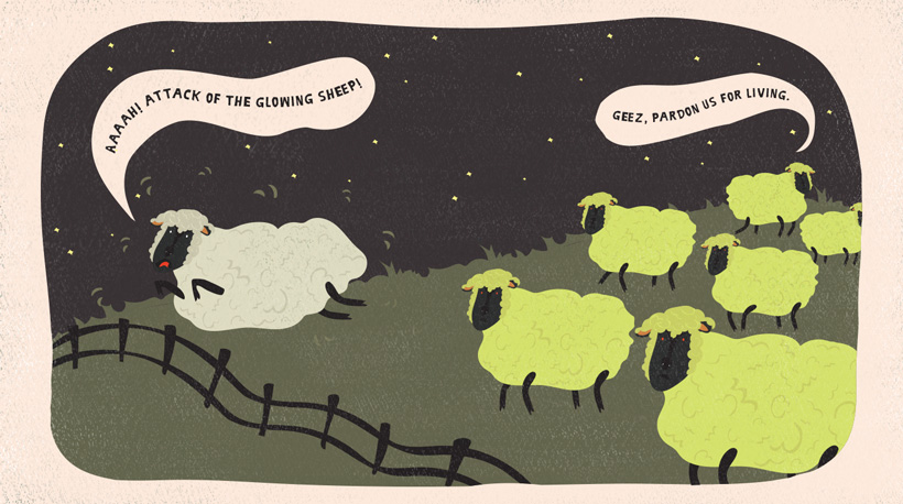A sheep runs away from a herd of glow-in-the-dark sheep.