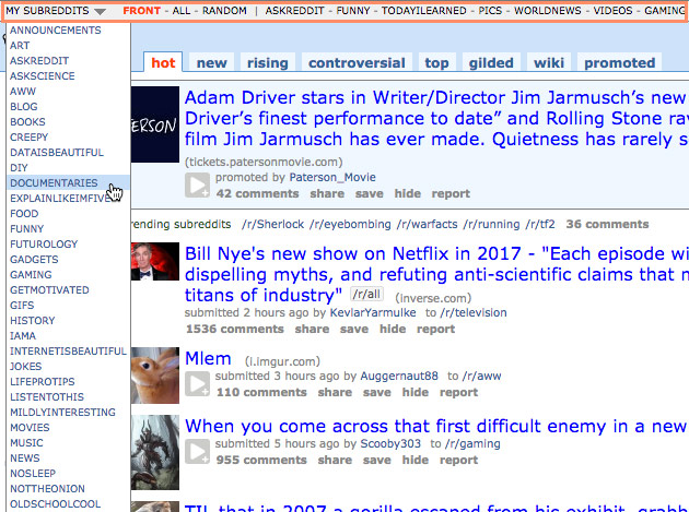 A screen capture of posts from various subreddits.
