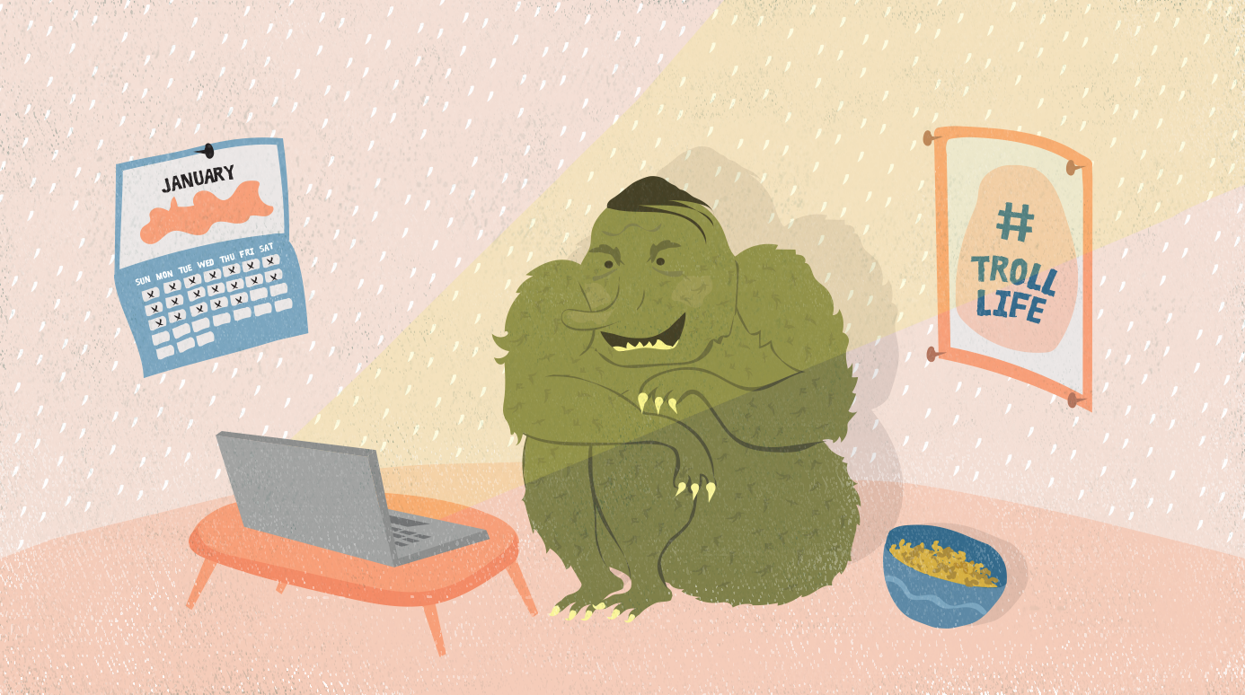 illustration of a troll sitting in their room while looking at their laptop