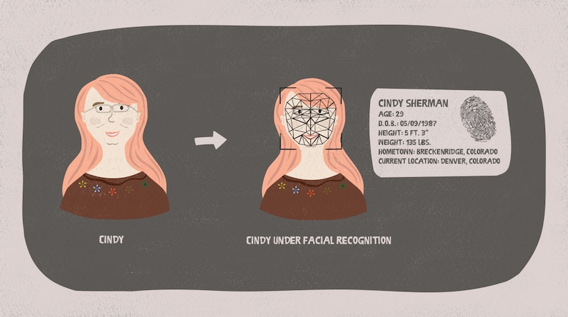 A facial recognition program scans a woman's face and displays her biographical details.