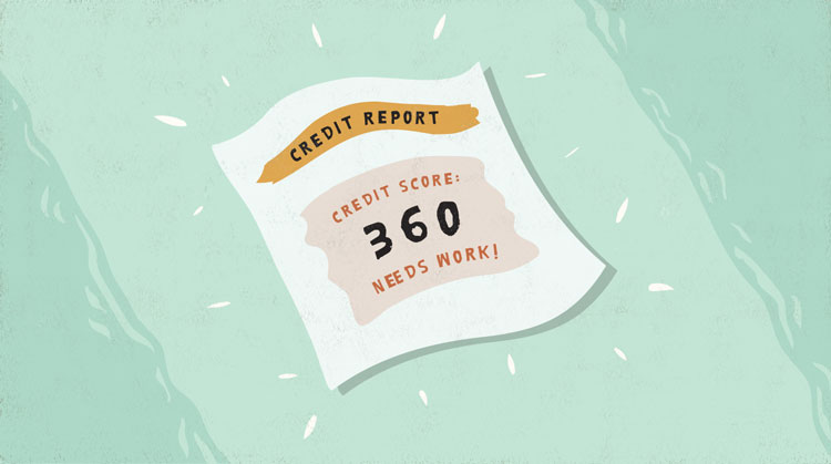 credit report with low credit score of 360