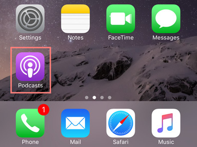 Podcasts app on the home screen