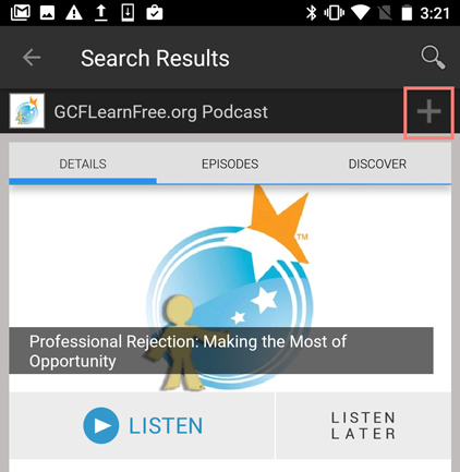 selecting the podcast