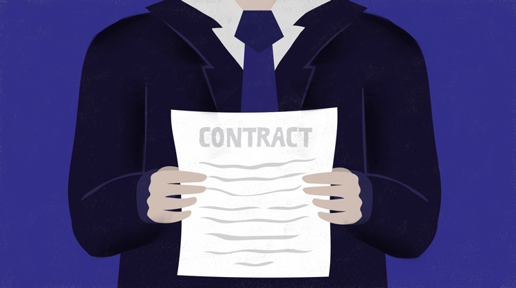 Person holding a contract