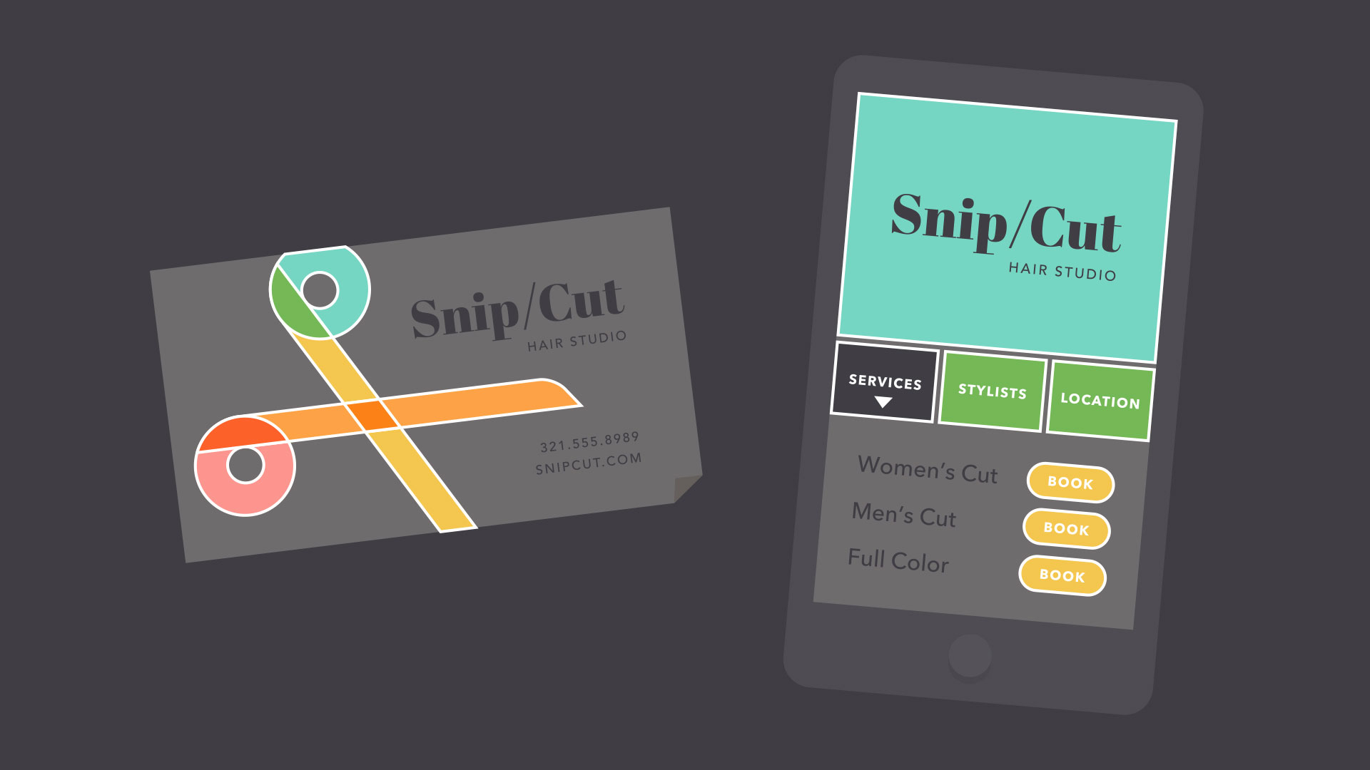 business card and app with shapes