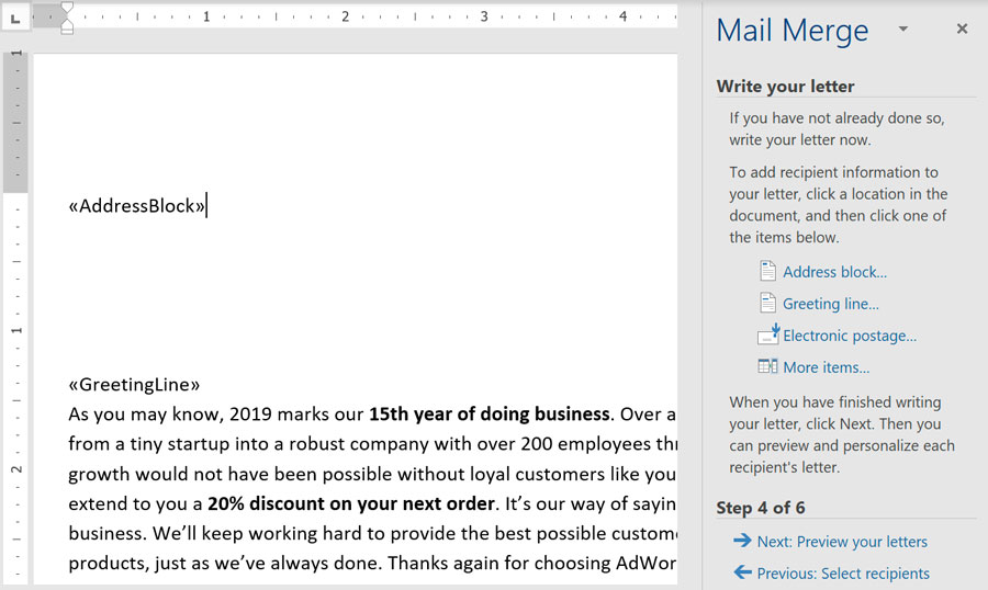 viewing mail merge in Microsoft Word
