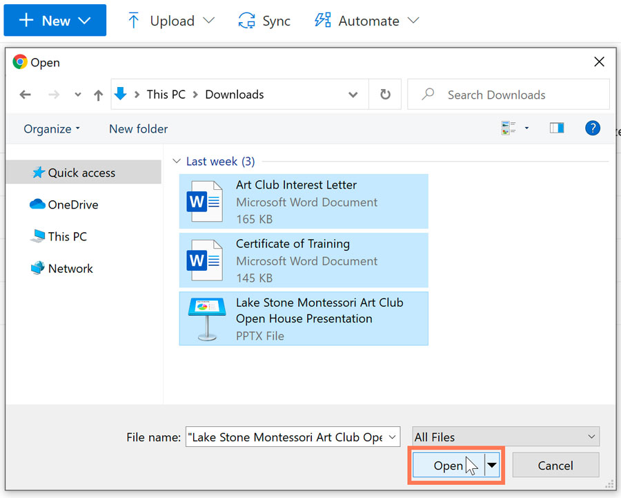 selecting multiple files in an upload dialog box