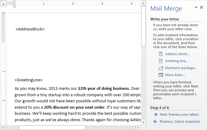 mail merge interface in Microsoft Word