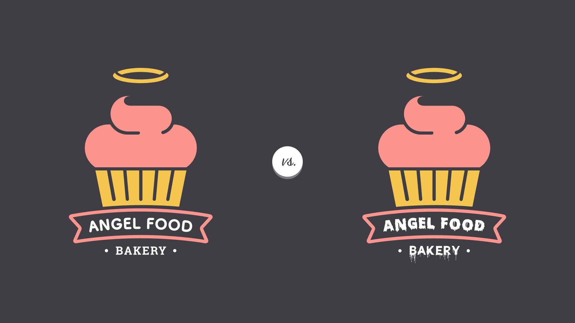 contrasting bakery logos