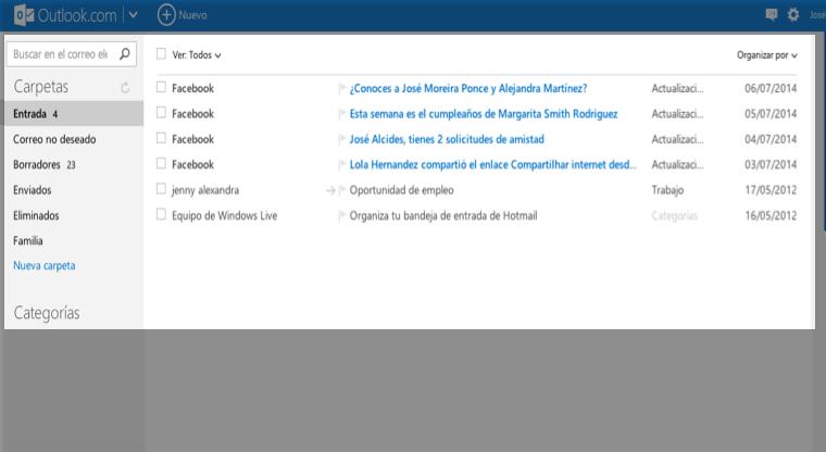 Bandeja de entrada Outlook