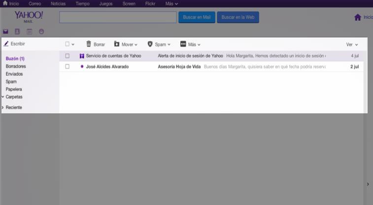 Bandeja de entrada Yahoo