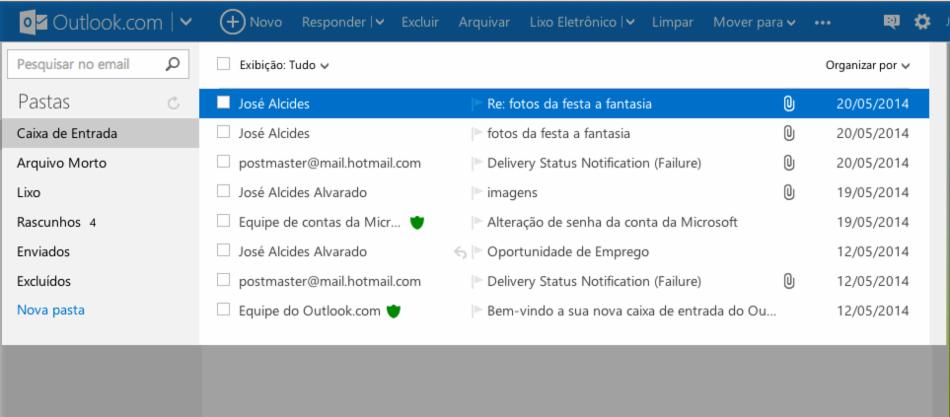 Caixa de entrada do Outlook.