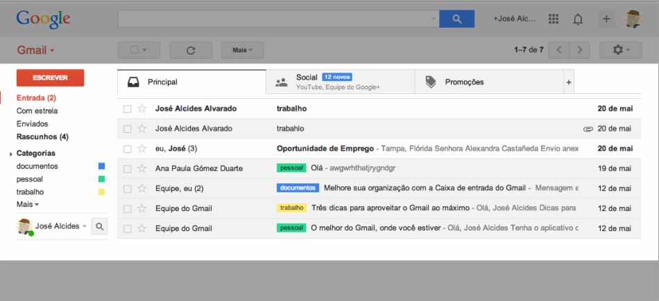Caixa de entrada do Gmail.