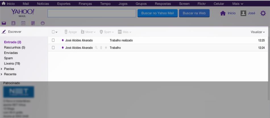 Caixa de entrada no Yahoo!