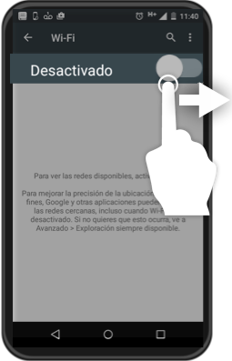 Botón para activar la opción WiFi