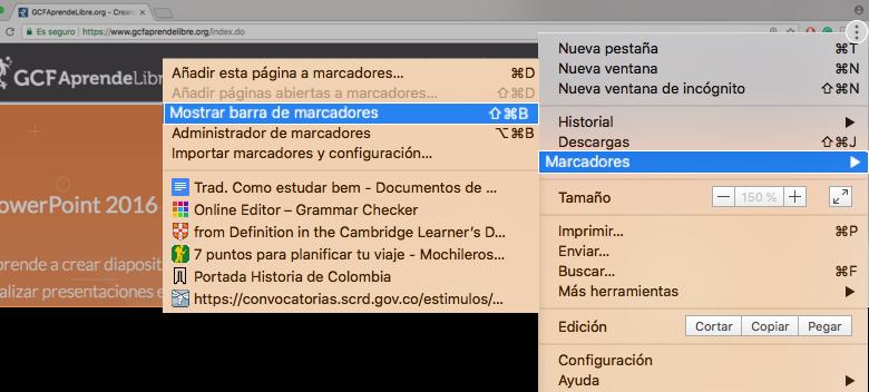 Imagen ejemplo de Configurar, Marcadores y Mostrar barra de marcadores.